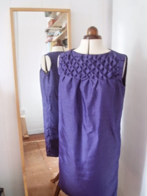 Simplicity 4826 Purple Smocked Frock - upcycle skirt to dress