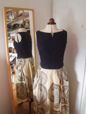 boat neck top upcycle linen trousers to top