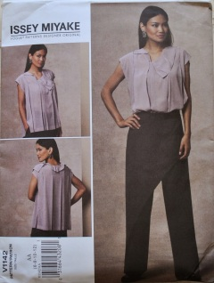 issey miyake vogue 1142 refashion upcycle dress to top pleats