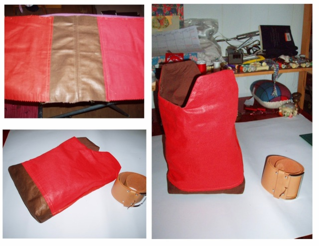 red yy bag made from upholstery swatch
