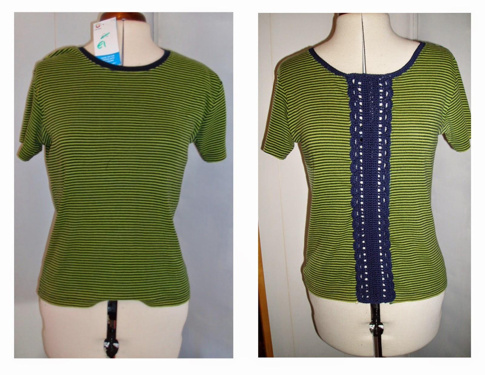 refashion upcycle tee shirt crochet panel