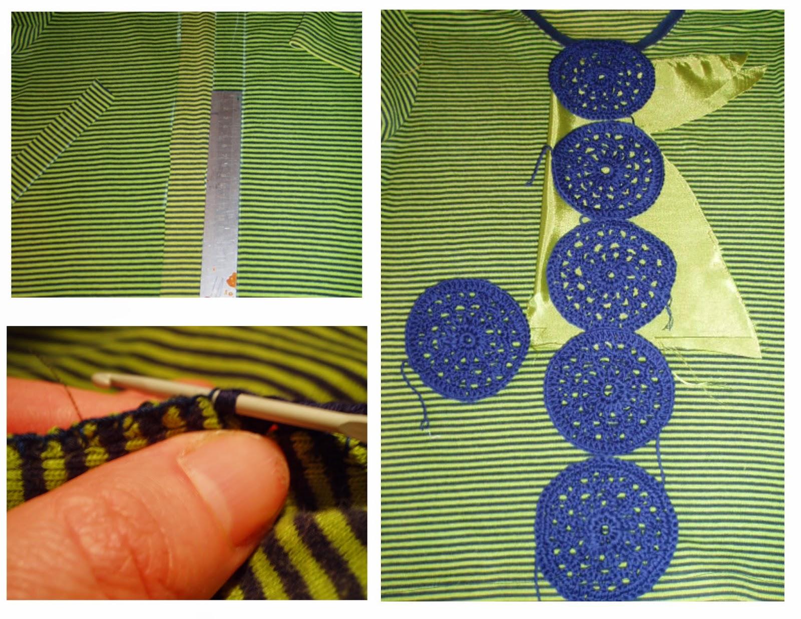 upcycle tee shirt crochet panel