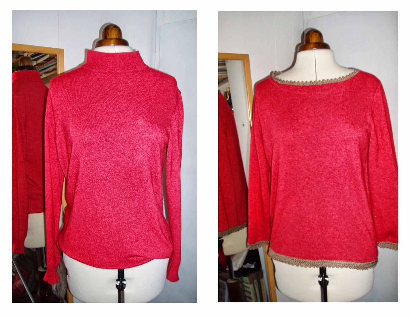 crochet trim sweater