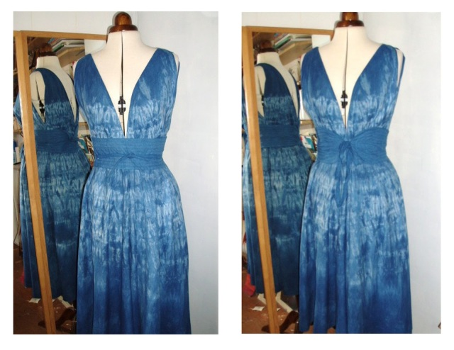 vogue 7568 shibori sheet dress