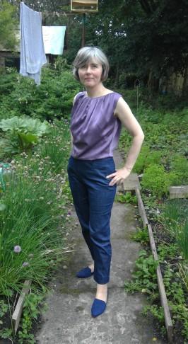 lilac blouse denim trews