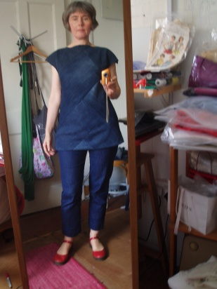 denim dress refashion, shorten?
