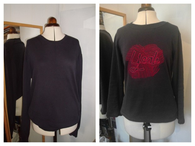 embroidered sweater, before and after