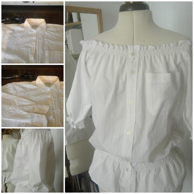 shirred shirt upcycle to summer top