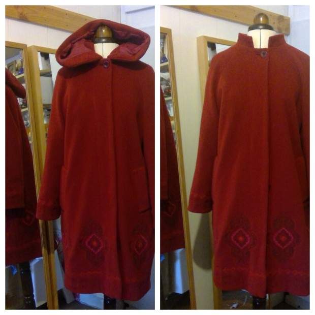 embroidered coat with hood and without