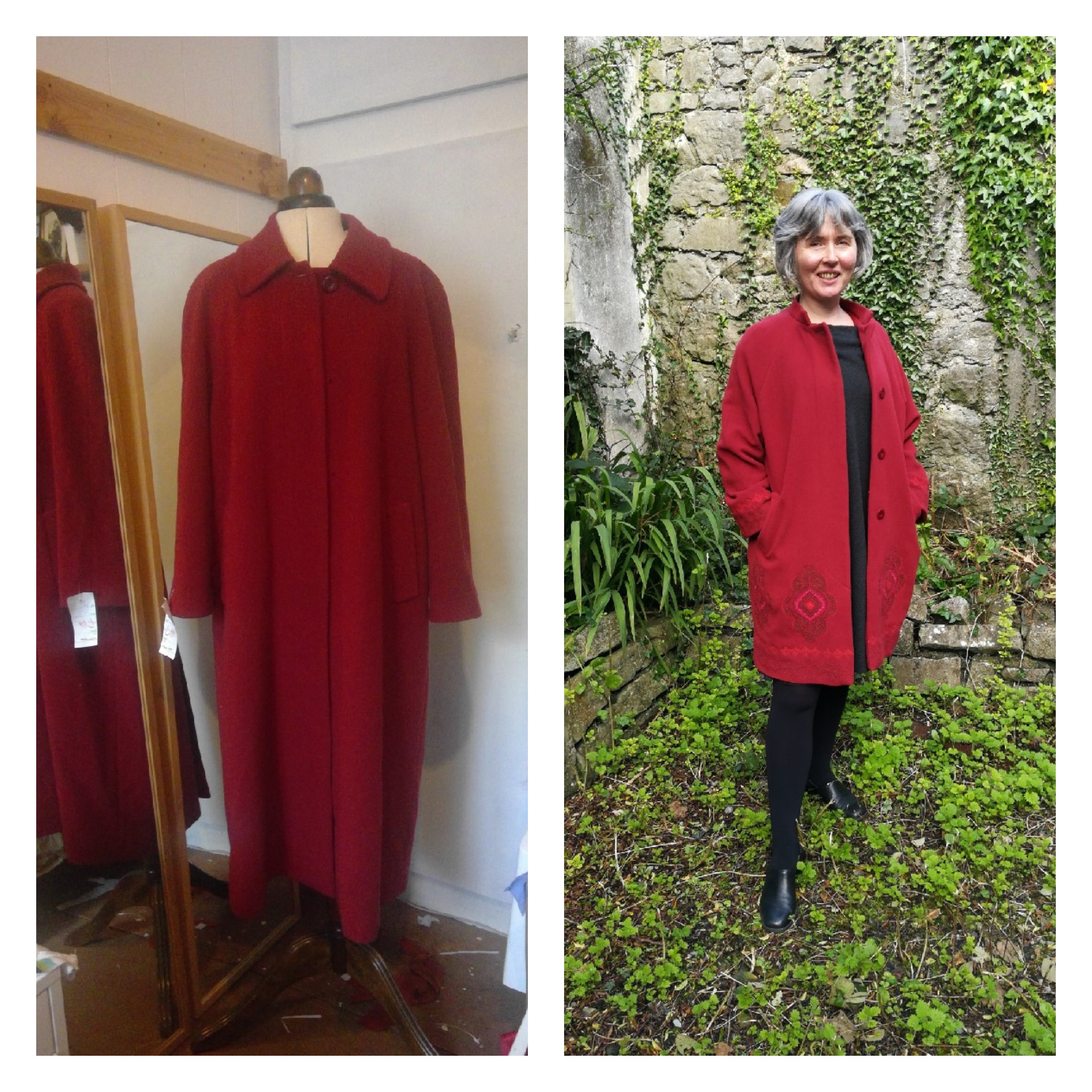 embroidered red coat
