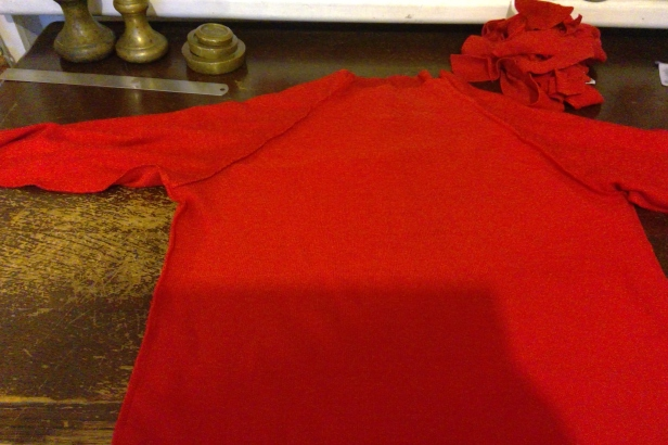 red raglan sewing up