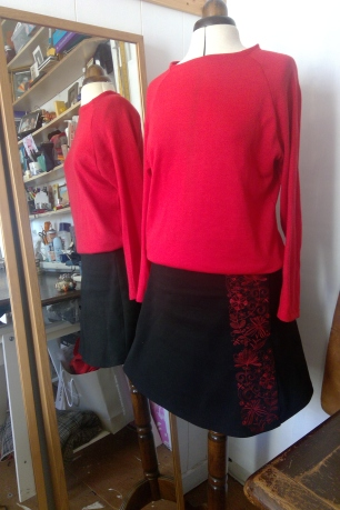 red sweater black skirt (1)