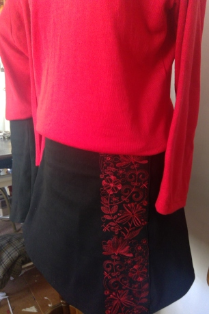 red sweater black skirt (2)