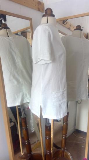 short sleeve linen t side